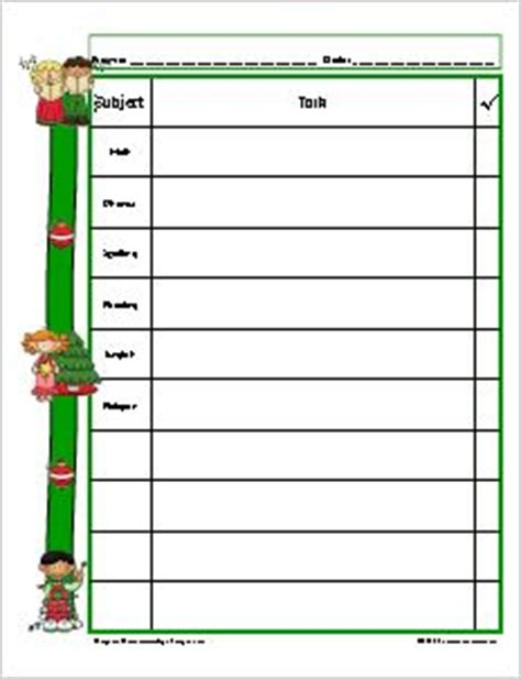 Weekly homework agenda template