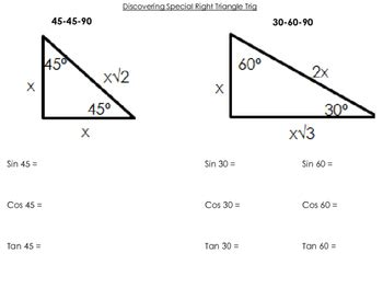 Geometry Practice And Homework Special Right Triangles Answers